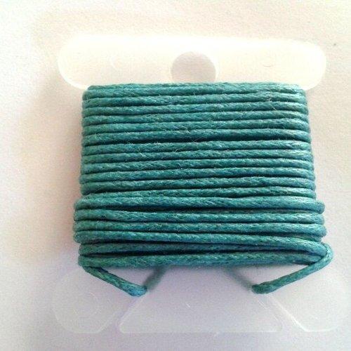 3m fil coton ciré bleu canard 1mm - macramé , shamballa ...