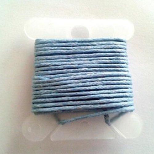3m fil coton ciré gris bleu 1mm - macramé , shamballa ...