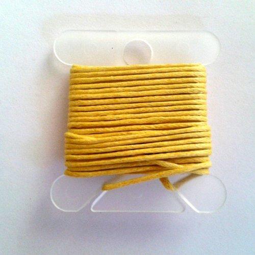 3m fil coton ciré jaune 1mm - macramé , shamballa ...