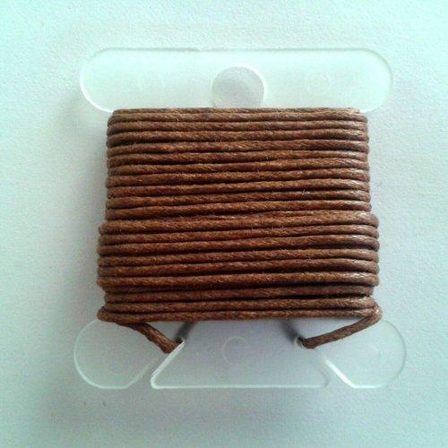 3m fil coton ciré marron 1mm - macramé , shamballa ...