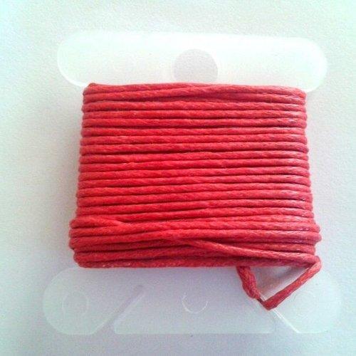 3m fil coton ciré rouge 1mm - macramé , shamballa ...