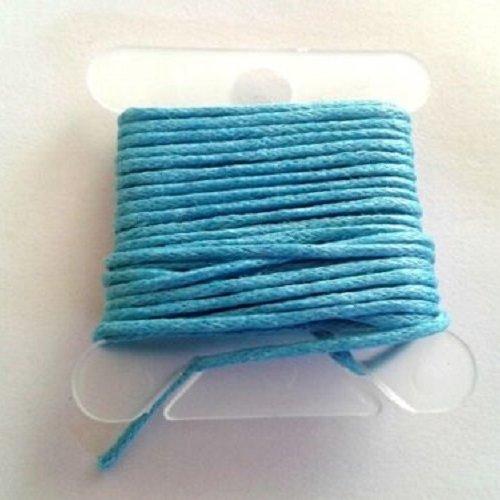 3m fil coton ciré turquoise 1mm - macramé , shamballa ...