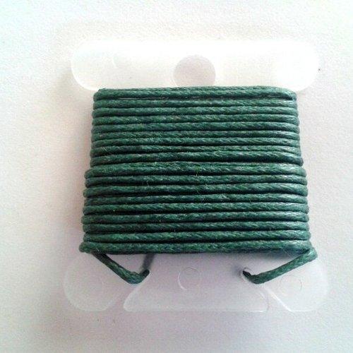 3m fil coton ciré vert foncé 1mm - macramé , shamballa ...