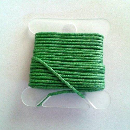 3m fil coton ciré vert 1mm - macramé , shamballa ...