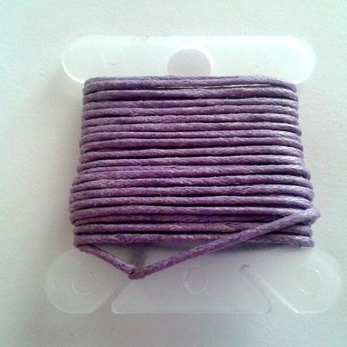 3m fil coton ciré violet clair 1mm - macramé , shamballa ...