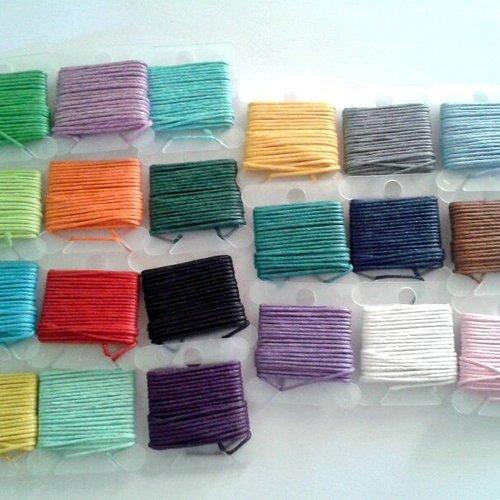 21 x 3m fil coton ciré multicolore 1mm - macramé , shamballa ...