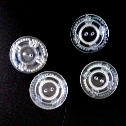 4 boutons en résine transparent - ancien - 22mm - 492mp