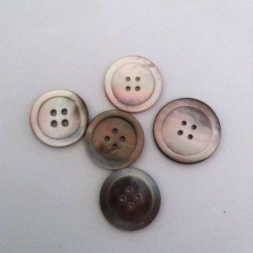 5 boutons en nacre gris - ancien - 27mm et 24mm - 473mp
