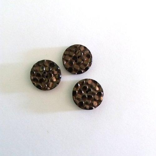 3 boutons en résine noir et gris - ancien - 18mm - 488mp