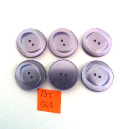 6 boutons en résine mauve - vintage - 26mm - bt045