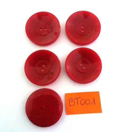 5 boutons en résine rouge foncé - vintage - 30mm - bt001