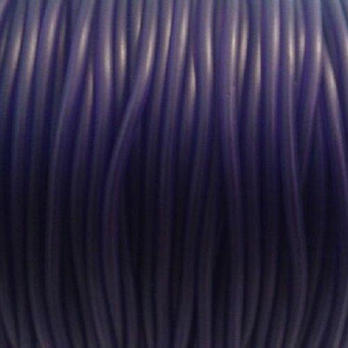 2m cordon caoutchouc violet foncé -  ⌀ 2mm - interieur creux