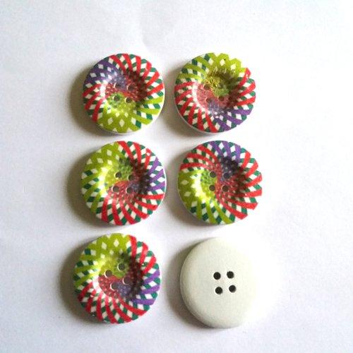 6 boutons fantaisies en bois vert rouge bleu mauve - 30mm