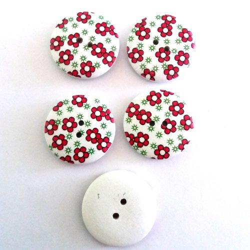 5 boutons fantaisies en bois fond blanc avec fleur rouge - 30mm