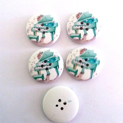 5 boutons fantaisies en bois fond blanc avec un piano vert d'eau - 30mm
