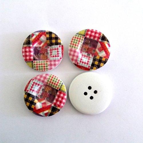 4 boutons fantaisies en bois écossais et multicolore - 30mm