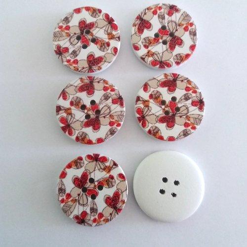 6 boutons fantaisies en bois fond blanc et rouge - 30mm