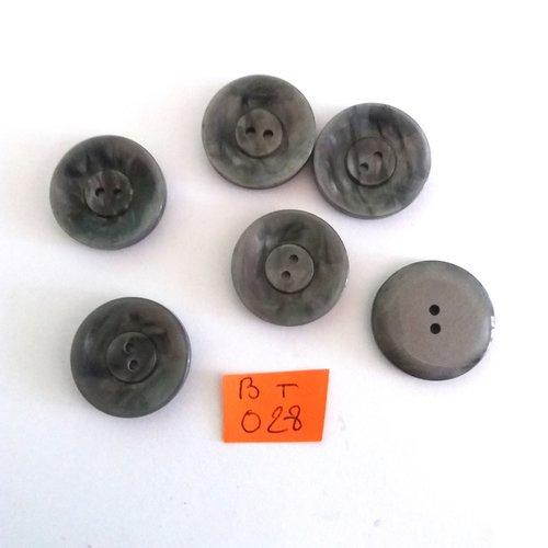 6 boutons en résine gris - vintage - 22mm - bt028