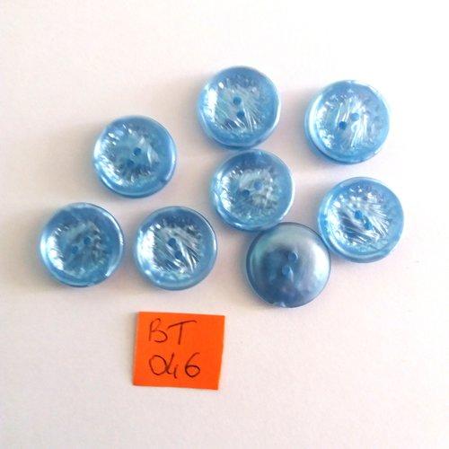 8 boutons  en résine bleu clair - vintage - 18mm - bt 046