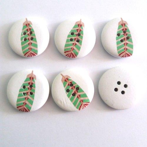 6 boutons fantaisies en bois fond blanc et pumes verte - 30mm