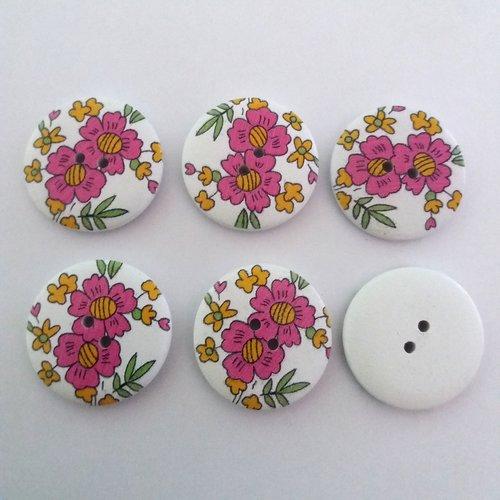 6 boutons fantaisies en bois fond blanc fleur mauve - 30mm