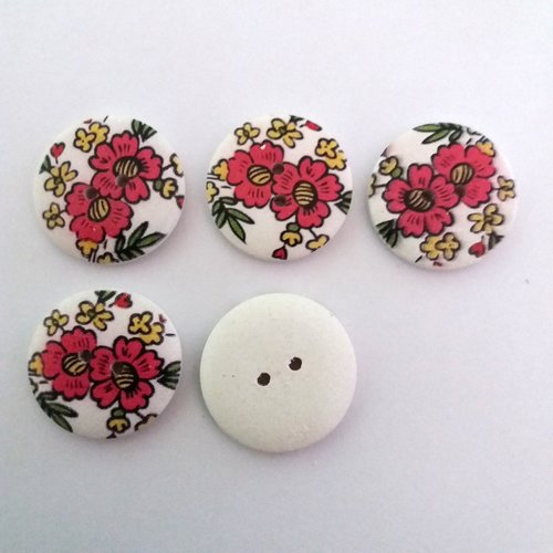 5 boutons fantaisies en bois fond blanc fleur rouge - 30mm