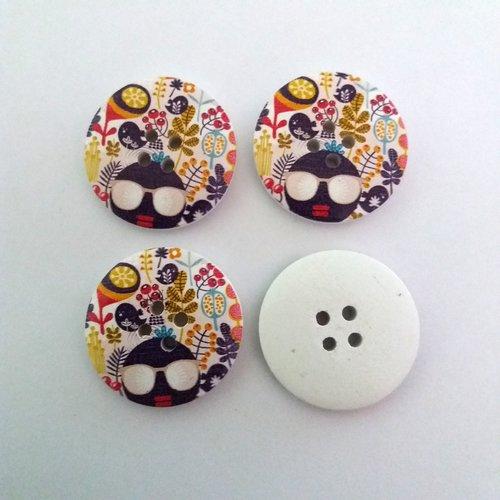 4 boutons fantaisies en bois multicolore - 30mm