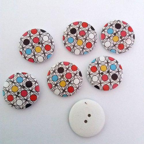 7 boutons fantaisies en bois avec des ronds multicolore - 30mm
