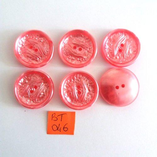 6 boutons en résine rose - vintage - 27mm - bt046