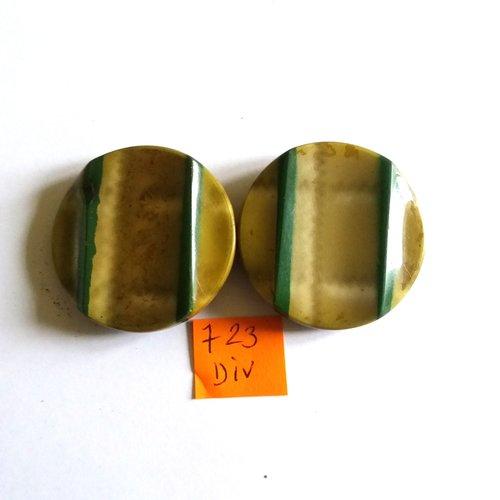 Attache en bakélite vert et métal - vintage - fermé 8cm - 723div