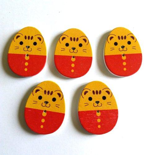 5 boutons fantaisies en forme d'oeuf en bois - rouge et moutarde - 22x30mm