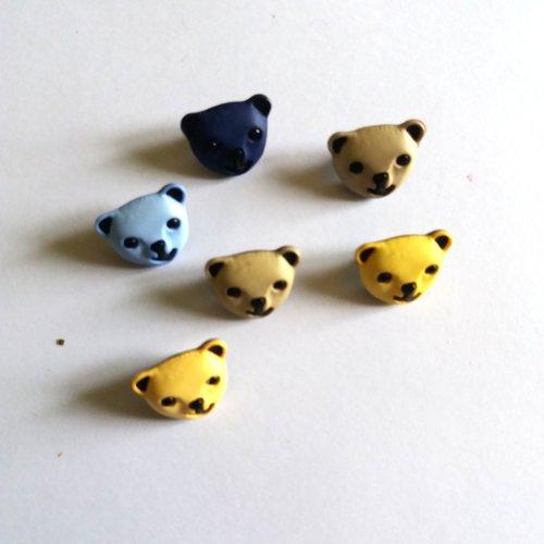 6 boutons fantaisies tete d'ours en résine - multicolore - 16x13mm - f3