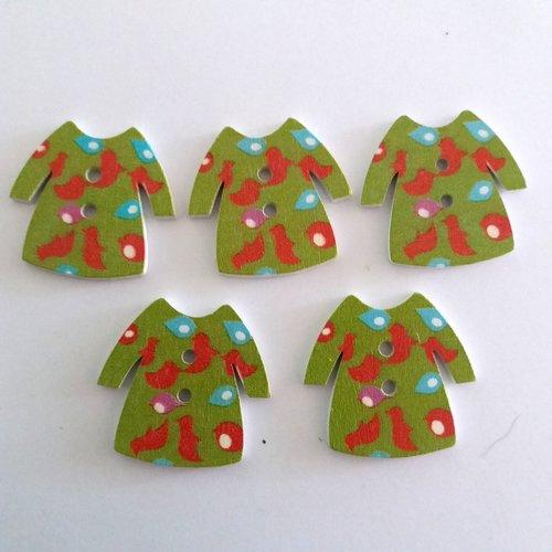 5 boutons fantaisies un habit en bois - vert bleu clair et rouge - 33x31mm - f7