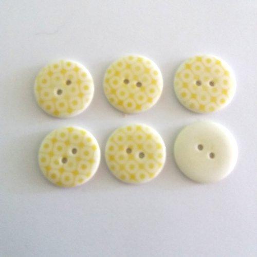 6 boutons en résine jaune et blanc - 23mm