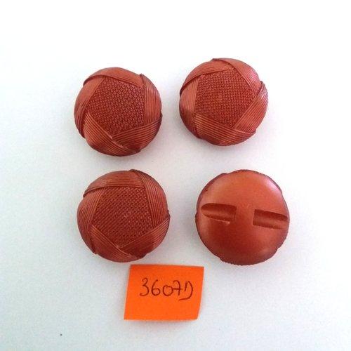 4 boutons en résine vieux rose (marron) - vintage - 26mm - 3607d