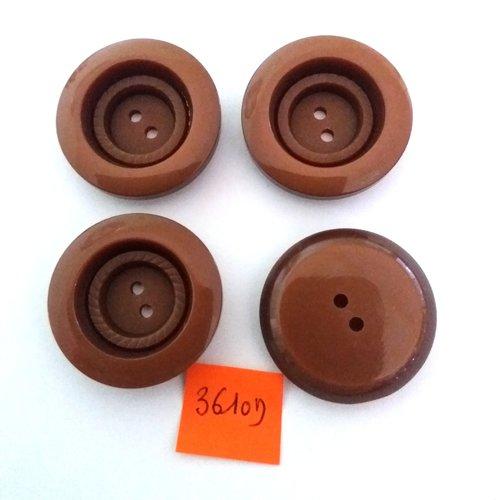 4 boutons en résine marron - vintage - 31mm - 3610d