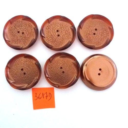 6 boutons en résine cuivre - vintage - 30mm - 3617d
