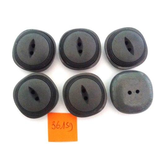 6 boutons en résine gris foncé - vintage - 27mm - 3615d