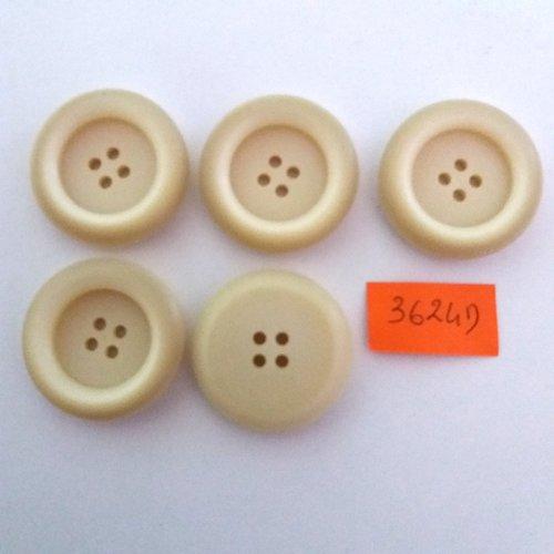 5 boutons en résine crème - vintage - 30mm - 3624d