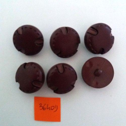 6 boutons en résine bordeaux - vintage - 22mm - 3640d