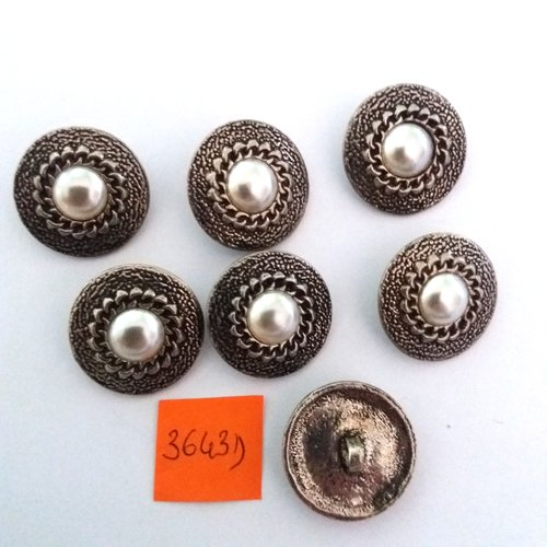 7 boutons en métal argenté + cabochon - vintage - 22mm - 3643d