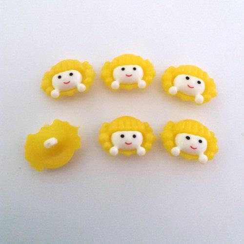 6 boutons fantaisies en résine (tete de fille) - blanc et jaune - 23x17mm - f4