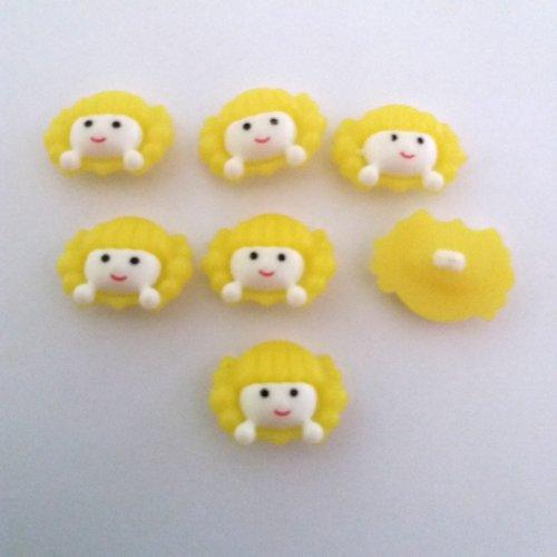 7 boutons fantaisies en résine (tete de fille) - blanc et jaune clair - 23x17mm - f4