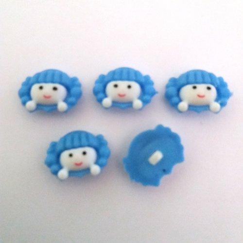 5 boutons fantaisies en résine (tete de fille) - blanc et bleu - 23x17mm - f4