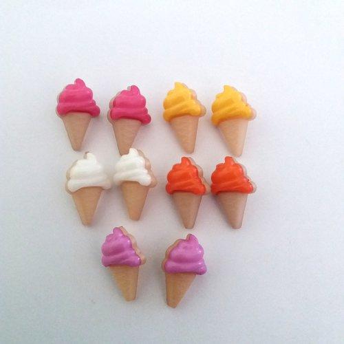 10 boutons fantaisies en résine - glace  - orange  jaune mauve blanc rose - 21x13mm - f7