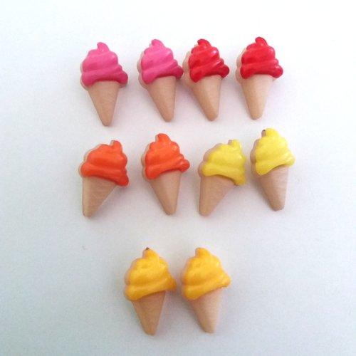 10 boutons fantaisies en résine - glace - jaune clair jaune rose orange rouge - 21x13mm - f7