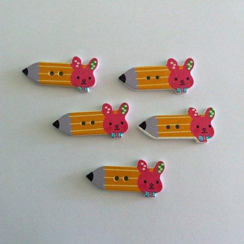 5 boutons fantaisies crayon en bois - jaune et rose foncé - 15x32mm - f7