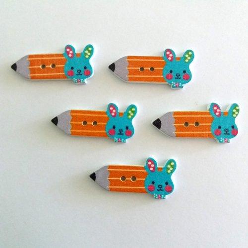 5 boutons fantaisies crayon en bois - orange et bleu - 15x32mm - f7