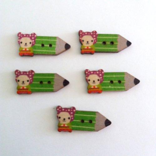 5 boutons fantaisies crayon en bois - violet et vert - 15x32mm - f7