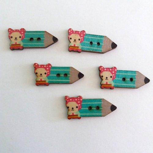 5 boutons fantaisies crayon en bois - bleu et mauve - 15x32mm - f7